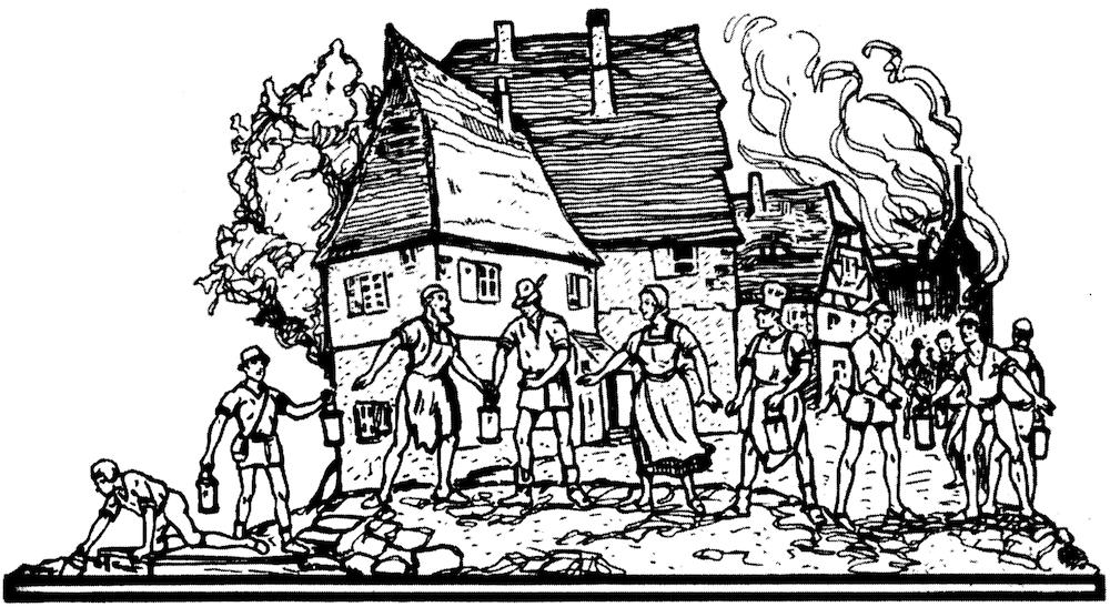 Feuerlöschwesen im 18. Jahrhundert - Mit Wassereimern und Eimerketten gegen die Flammen